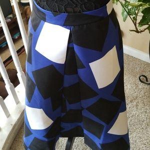 Blue, black and white skirt